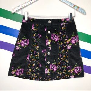 NEW BDG Corduroy button down floral skirt